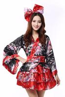 ingrosso femmine sexy giapponesi-Le ragazze tradizionali del kimono giapponese Geisha ragazza cosplay sexy delle donne delle case da bagno costumi delle donne cosplay bowtie fiori cos Costume