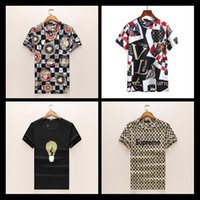 Wholesale Ufo Shirt - 2018 Luxury Designs Brand Dragon Printed Men's T-shirt Rainbow UFO Design Summer Hip Hop Tshirt Tee Shirts Man Tops White