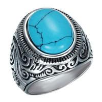 edelstahl-ring großhandel-Retro Natürliche Schwarz Blau Türkis Ringe Männer Vintage Edelstahl Titan Ring Männlichen Ring Schmuck