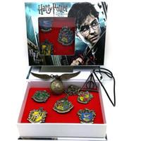 rol de llavero al por mayor-7 Roles Harry Potter Hogwarts Casa Metal Pin Insignia Broche Llavero Set Gryffindor Hufflepuff Cosplay Novedad Traje Regalo