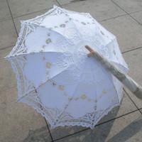 Wholesale Long Lace Arm - Classic Multi-color Noble Elegant Palace Style Long Arm Wedding Bridal Umbrella Embroidery Gingham Lace Parasol lace Umbrella