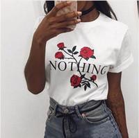 blusa rosa mujer al por mayor-NADA Carta Print T-shirts Niñas Mujeres Rose Flower Casual Summer Tops Blusas manga corta O-cuello Camiseta 2 colores LJJO4306