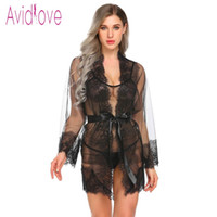ingrosso aprire vedere attraverso indumenti da notte-Avidlove 2018 New Front Open Babydoll Dress Sexy Lingerie Hot Erotic Sex Costume See Through Cardigan Sleepwear G-String Y18102206