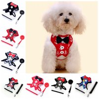 Wholesale Dog Leash Metal - Pet Dog Vest Evening Dress Butterfly Bow Tie Chest Coat Strap With Metal Buckle Puppy Leashes GGA309 100PCS