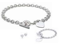 ensembles de boucles d'oreilles collier turquoise achat en gros de-Qualité conception de la célébrité 925 bague en argent bracelet boucles d'oreilles collier argenterie en forme de coeur en métal ensemble de bijoux 3pc avec la boîte