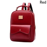 0ea3eae8f1 Female PU Leather Backpack Satchel 2018 College Student Bag Lady Style Bag