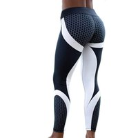 pantalones estampados blancos negros al por mayor-Hayoha Mesh Pattern Print Leggings Leggings de fitness para mujeres Leggins de entrenamiento deportivo Elastic Slim Black White Pants