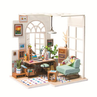 Wholesale 3d wooden puzzle house - 3D wooden jigsaw puzzle handmade miniature furniture doll house building model home decoration toy SOHO time