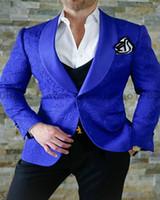 Wholesale Elegant Black Suits For Men - Elegant Brand Man Suit Slim Fit 2018 Royal Blue Smoking Tuxedo Dress Classic Suit Men Prom Suits For Wedding Groom 3 Pieces Suit
