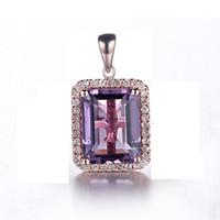 natürlicher 14k diamant großhandel-Solide 14 Karat Roségold Amethyst Natürliche Diamanten Frauen Engagement Braut Anhänger