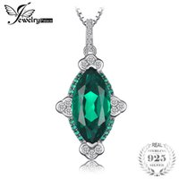 Wholesale unique fine jewelry resale online - JewelryPalace Unique Design ct Created Emerald Women Pendant Sterling Silver Vintage Fine Jewelry Not Include the Chain