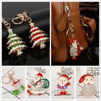 Wholesale santa christmas keys - Santa Claus Keychain Bling Diamond Metal Keychain Xmas Tree Hat Socks Snowman Pendant Key Chains Merry Christmas Gift