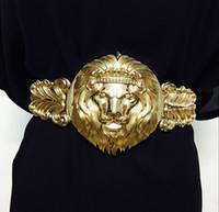 kadın elbiseleri moda tasarımcısı toptan satış-Womens için lüks büyük Altın Aslan Başkanı Kemer Tasarımcı kemerler kadın Elbise Sıkı ceinture femme Kadın Moda Aksesuarı