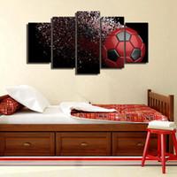 спортивные украшения для мальчиков оптовых-Waterproof Blue And Red Black Soccer Football Sport Canvas Wall Art Pictures for Boys Living Room Decoration Drop shipping