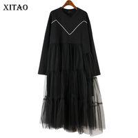 robe d'automne korea achat en gros de-[XITAO] Nouvelle Arrivée Femmes 2018 Automne Corée Mode O-cou Pleine Manches Lâche A-ligne Patchwork Casual Robe Mi-mollet LJT4365