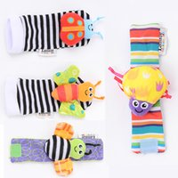 Wholesale lamaze online - New arrival sozzy Wrist rattle foot finder Baby toys Baby Rattle Socks Lamaze Plush Wrist Rattle Foot baby Socks STY094