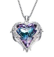anges romantiques achat en gros de-Valentin Cadeau Amour Pendentif Coeur Colliers avec Angel Wing Cadeaux pour Femme Romantique Cristal Diamant Bijoux