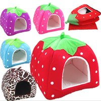 Wholesale lovely strawberry - Fashion Soft Dog House Strawberry Shape Lovely Kennel Warm Portable Cute Cat Bed Nest For Small Medium Pets (Size S)