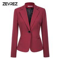 kırmızı şarap katları toptan satış-Şarap Kırmızı Siyah Kadın Blazers Ve Ceketler 2018 Yeni Sonbahar Moda Tek Düğme Blazer Femenino Ofis Bayanlar Blazer Ceket Zevrez