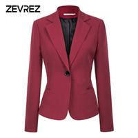 abrigos de vino tinto al por mayor-Vino rojo, negro, mujer Blazers y chaquetas 2018 Nueva moda de otoño con un solo botón Blazer Femenino Office Ladies Blazer Coat Zevrez