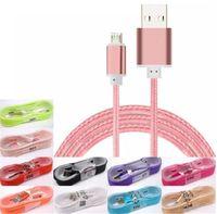 langer kopf micro usb großhandel-1.5M langes starkes geflochtenes USB-Ladekabel für Typ-c Samsung HTC HTC Sony LG Micro-USB-Kabel mit Metallkopfstecker USB