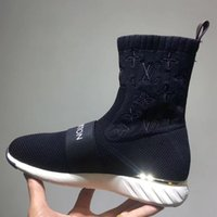 botas de vaquero negras al por mayor-NUEVAS mujeres calificadas Aftergame Sneaker Botas planas Dama bordada Tela de estiramiento suela de goma tobillo botas en caja