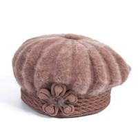 ingrosso berretti-8PCS / LOT SINGYOU Inverno Mam Hat Lady caldo paraorecchie lavorato a maglia cappelli casual tinta unita fiore copricapo berretto per le donne