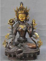 kwan statue großhandel-28 cm * / Tibet Buddhismus Bronze Vergoldung Grüne Tara Göttin Kwan-Yin Buddha Statue