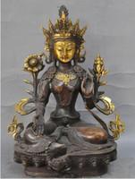 ingrosso statua di kwan-28 cm * / Tibet Buddismo Bronzo dorato Verde Tara Dea Kwan-Yin Statua di Buddha