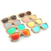 caja de madera vintage al por mayor-Gafas de sol polarizadas de madera de bambú de la marca Sun Glasses Wood Case Beach gafas de sol de la vendimia para la conducción gafas de sol