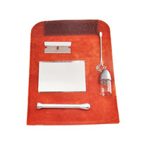 Wholesale leather pipe case resale online - 100 Genuine Leather Tobacco Pouch Bag Snuff Snorter Tool Sniffer Straw Hooter Hoover Pouch Bag Pipe Smoking Case Pill Bottle Pocket Size
