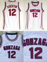 john sport großhandel-Gonzaga Bulldoggen Basketball 12 John Stockton Jersey Highschool Team Weiße Farbe Stockton Bulldoggen Trikots Atmungsaktive Sportarten Kostenloser Versand