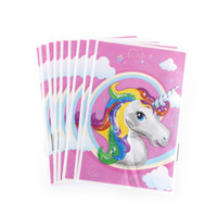 Wholesale Loot Kids Gift Bags - 10pcs Plastic Candy Bag Loot Bag Unicorn Theme Party Gift For Kids Birthday Festival Christmas Party Supplies Decor