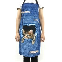 Wholesale Sleeveless Aprons - Forudesigns Cute 3d Denim Cat Apron For Women Men Funny Blue Denim Dog Kitchen Sleeveless Apron Home Cleaning Cooking Bbq Aprons