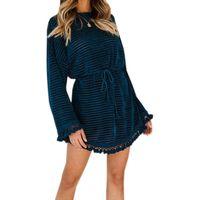 Wholesale kawaii chiffon dress online - Autumn Dresses Loose Waist Navy Blue Women Velvet Solid Mini Dress Streetwear Kawaii Tassel Ladies Long Sleeve Party Dress M0049