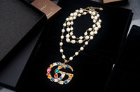 steel leopard 2018 - Top Quality Celebrity design Luxury Letter Pearl diamond Chain necklace Fashion Metal Letter leopard Rivets necklace Jewelry With Box