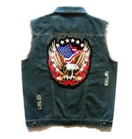 ingrosso maglia del mens del denim-Mens Blue Denim Motorcycle Biker Vest Eagle US American Flag Patch Design Punk Strappato Gilet