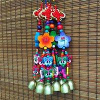 décoration de meubles chinois achat en gros de-Artisanat national noeud chinois fleur de prunier double cloche pendentif meubles hôtel vent cloche