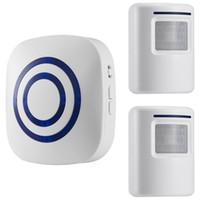 home-alarm-bewegungssensoren großhandel-Bewegungsmelder-Türklingel, Alarm für kabellose Auffahrt, Alarmanlage für das Haussicherungssystem mit 2 Sensoren und 1 Empfänger - 38 Melodien - LED-Anzeigen