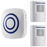 Wholesale doorbell alarm - Motion Sensor Doorbell, Wireless Driveway Alert, Home Security System Alarm with 2 Sensor and 1 Receiver -38 Chime Tunes - LED Indicators