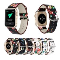 Wholesale flower wrist bands - Leather Watch Band for Apple Watch 38mm 42mm For Iwatch Series 1 Series 2 Series 3 Flower Strap Floral Prints Wrist Watch Bracelet
