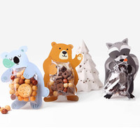 Wholesale gift wrapping plastic for sale - 10 Set Candy Bags Plastic Kids Birthday Party Fun Creativity Cartoon Animal Gift Bag Baby Chocolate Cookies Paper Packaging Bag