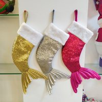 Wholesale gift bags dhl shipping for sale - Christmas Decorations Mermaid Stocking Gift Wrap Bags Bling Bling Bead Flip Tail Socks Xmas Home Decor DHL SHIP HH7