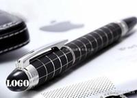 pluma ejecutiva negra al por mayor-Lujo mb Classique a cuadros negro RollerBall Pen Papelería Oficina ejecutiva Estrella blanca de cristal bolígrafo con número de serie