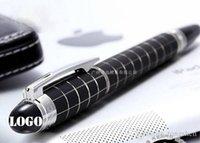 schwarze führerschein großhandel-luxus mb Classique schwarz kariert RollerBall Pen Stationery Exekutivbüro weißer Stern-Kristallkugelschreiber mit Seriennummer