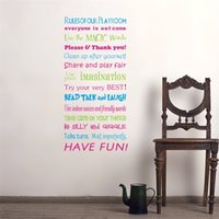 Wholesale water sticker black - Large Size English Family Rules Wall Sticker Living Room Bedroom Background Home Decor Paster Water Proof High Quality 17ly WW