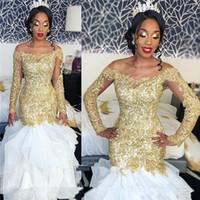 белланаийские платья оптовых-Сексуальный плюс размер Русалка африканские свадебные платья с золотыми кружевными аппликациями 2018 с длинными рукавами блестками бисером Bellanaija арабские свадебные платья