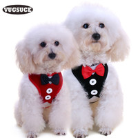 Wholesale wholesale bow ties for dogs - Wholesale-VUGSUCE Vest Pet Dog Harness Leash Set for Small Medium Dogs Bow tie Formal Dress Plaid Navy Puppy Harness Chest Strap Outdoor