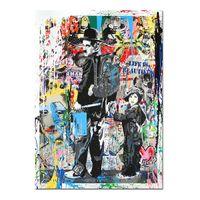 soyut panel tuvali baskılar toptan satış-Ücretsiz Nakliye, El-boyalı HD Baskı Modern Soyut Graffiti Pop Sanat yağlıboya Charlie Chaplin, Tuval Üzerine, Ev Deco Duvar Sanatı g295