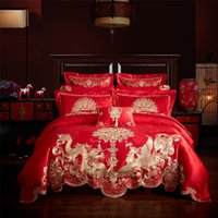Wholesale satin bedspread sets - Luxury Satin jacquard Bedding Set Golden Dragon Duvet Cover+bedspread+4 Pillowcases +2 square pillowcase King Queen Size